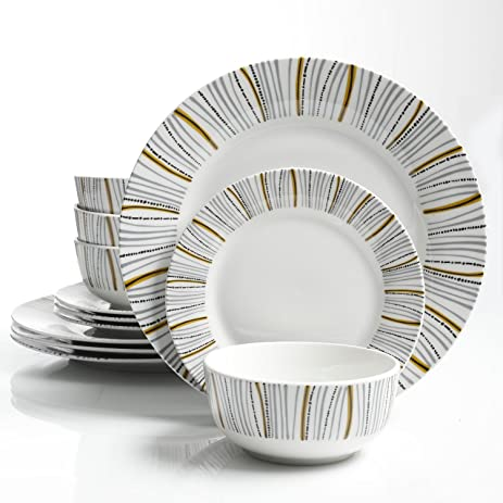 Gibson Home Classic Burst 12 Piece Dinnerware Set White  sc 1 st  Amazon.com : white dinnerware sets for 12 - pezcame.com