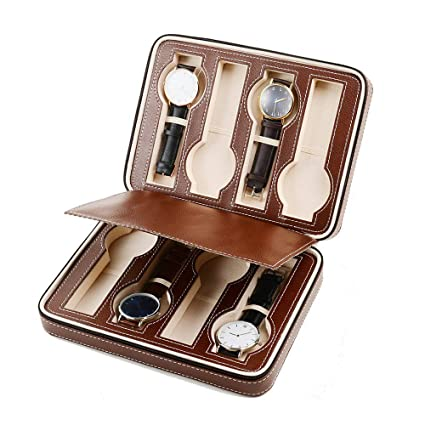 Zgsjbmh Estuche para Relojes Reloj Storage Display Box Funda de Cuero Faux Storage Zipper Case 8
