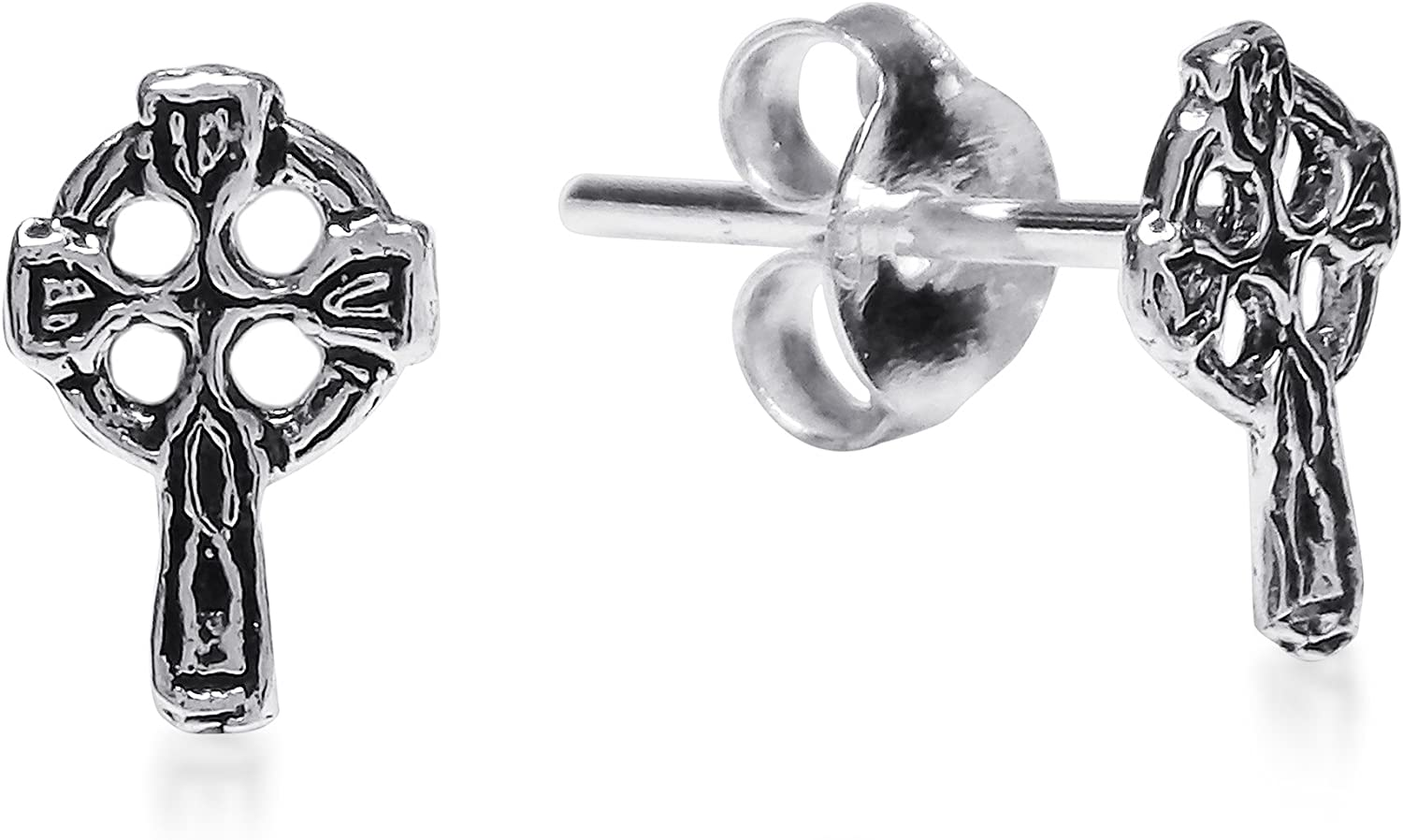 Faith Eternal Mini Celtic Cross .925 Sterling Silver Stud Earrings