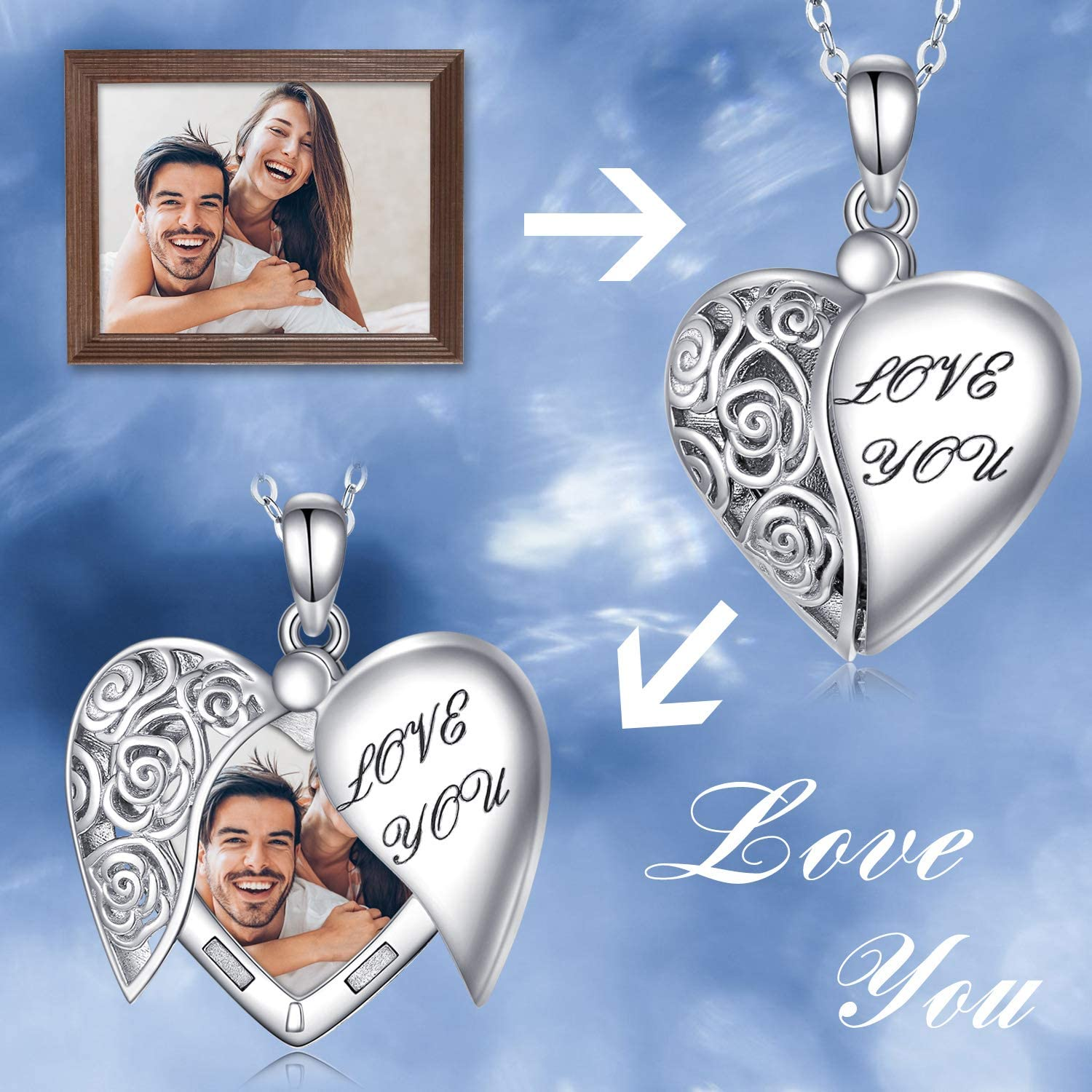 Locket Necklace That Holds Pictures S925 Sterling Silver Rose Flower Locket Necklace Memorial Picture Locket Heart Pendant Jewelry Gift for Women Girlfriend