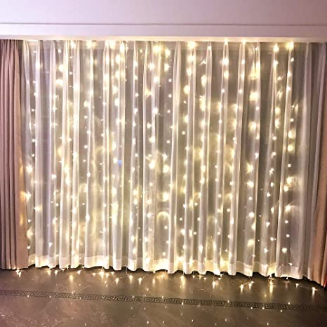 FEFELightup Window Curtain Lights 98x98ft 300 LEDs Night