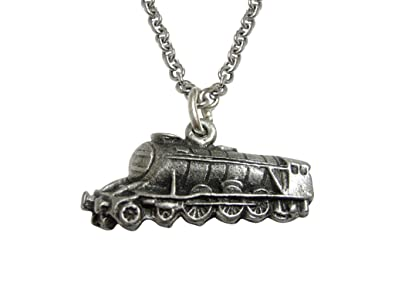9beb1d3d99a2 Image Unavailable. Image not available for. Color: Silver Toned Textured Locomotive  Train Pendant Necklace