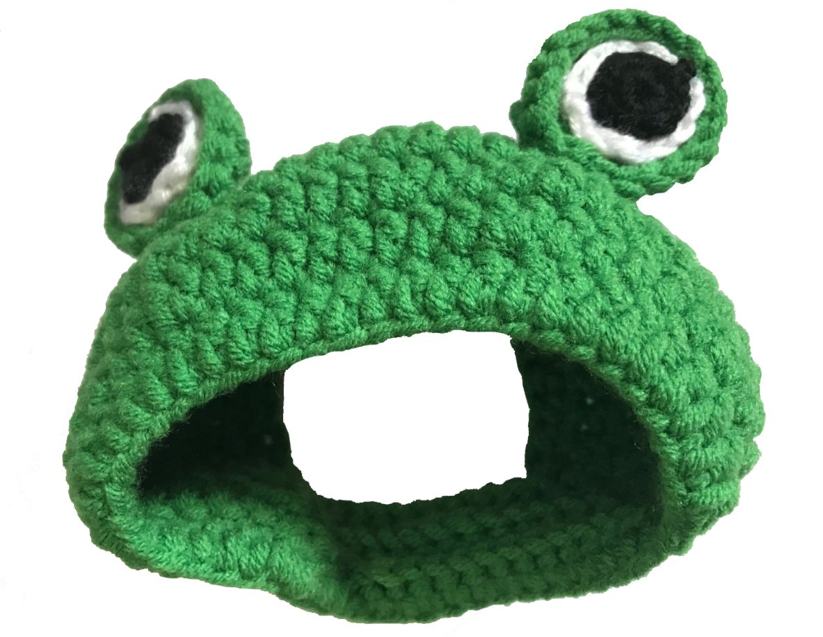Lifeuion Pet Cat Frog Hat Knitted Dog Fun Cap Party Costume Pet Christmas Hat Cute Pet Headwear For Cat Small Dog (S - For Cat)