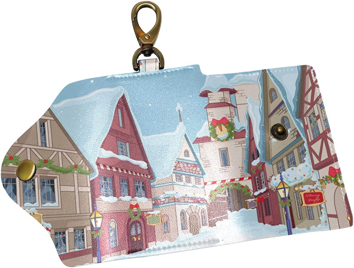 KEAKIA Christmas Town Leather Key Case Wallets Tri-fold Key Holder Keychains with 6 Hooks 2 Slot Snap Closure for Men Women