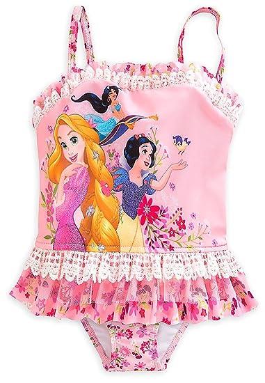 6198c0dae1 Disney Store Little Girls  Disney Princesses Glitter Accents Deluxe Swimsuit