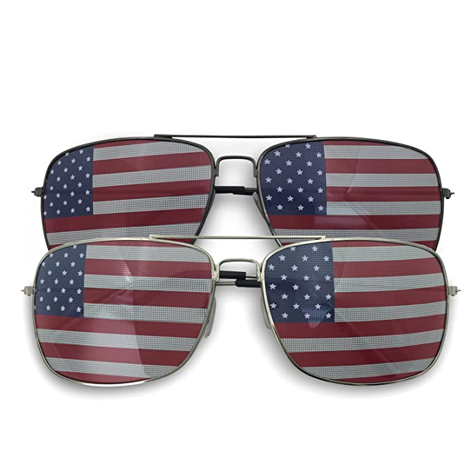 ba9515f6bbe Image Unavailable. Image not available for. Color  2 Pack Bulk USA Flag  America Glasses - Square Aviator Style Sunglasses