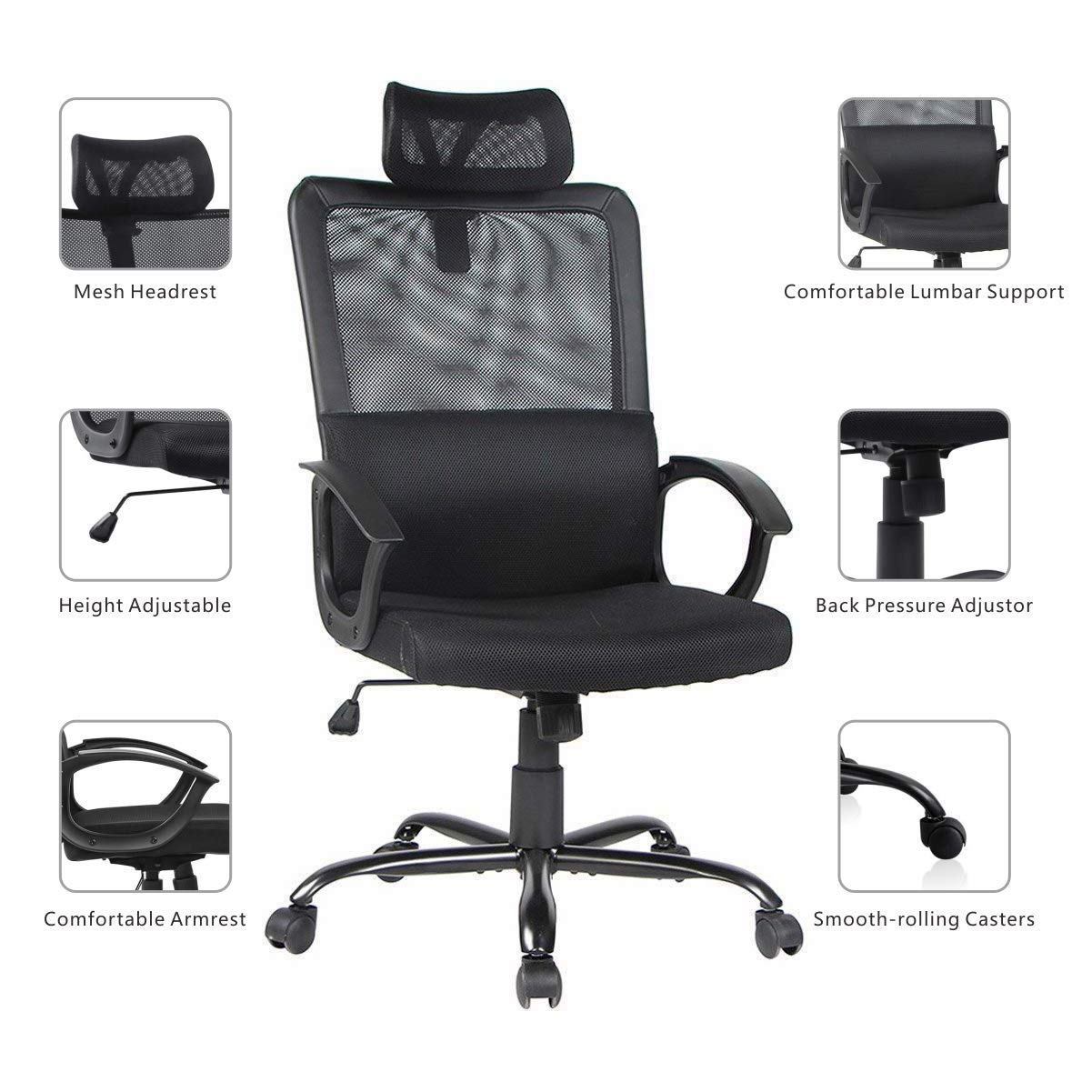 Smugdesk Ergonomic Office Chair High Back Mesh Office Chair Adjustable Headrest Computer Desk Chair for Lumbar Support by Smugdesk (Image #2)