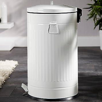 Exklusiver Klassiker Oscar Mülleimer Metall Weiß 40 Liter ...