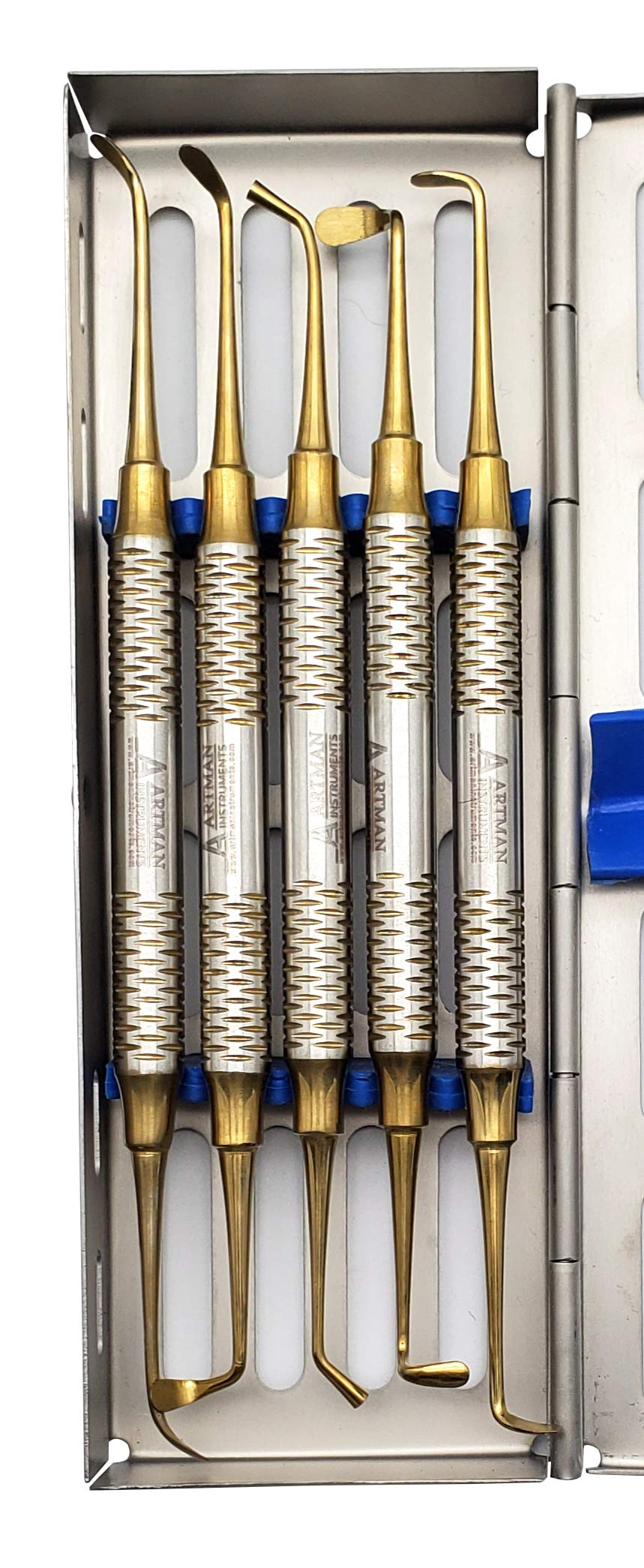 Sinus Lift Kit (5 pcs) in Stainless Steel Cassette Gold Plated for Implant Dental use by Wise Linkers