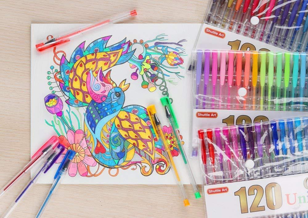 Shuttle Art 240 Pcs Gel Pens,Gel Pen Set with case for Adult Coloring Books by Shuttle Art (Image #7)