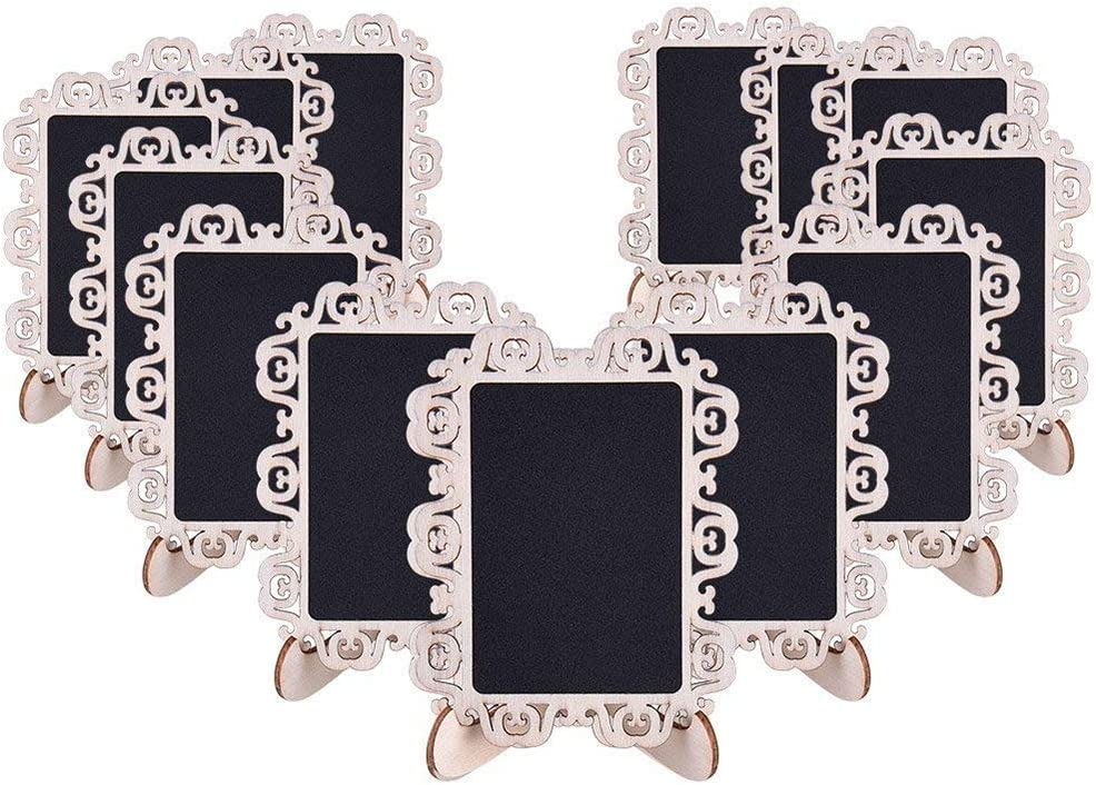 AUSTOR 14 PCS Mini Chalkboard Signs with Decorative Boarder and Stand for Weddings Place Cards, Parties, Message Board Signs and Decorating