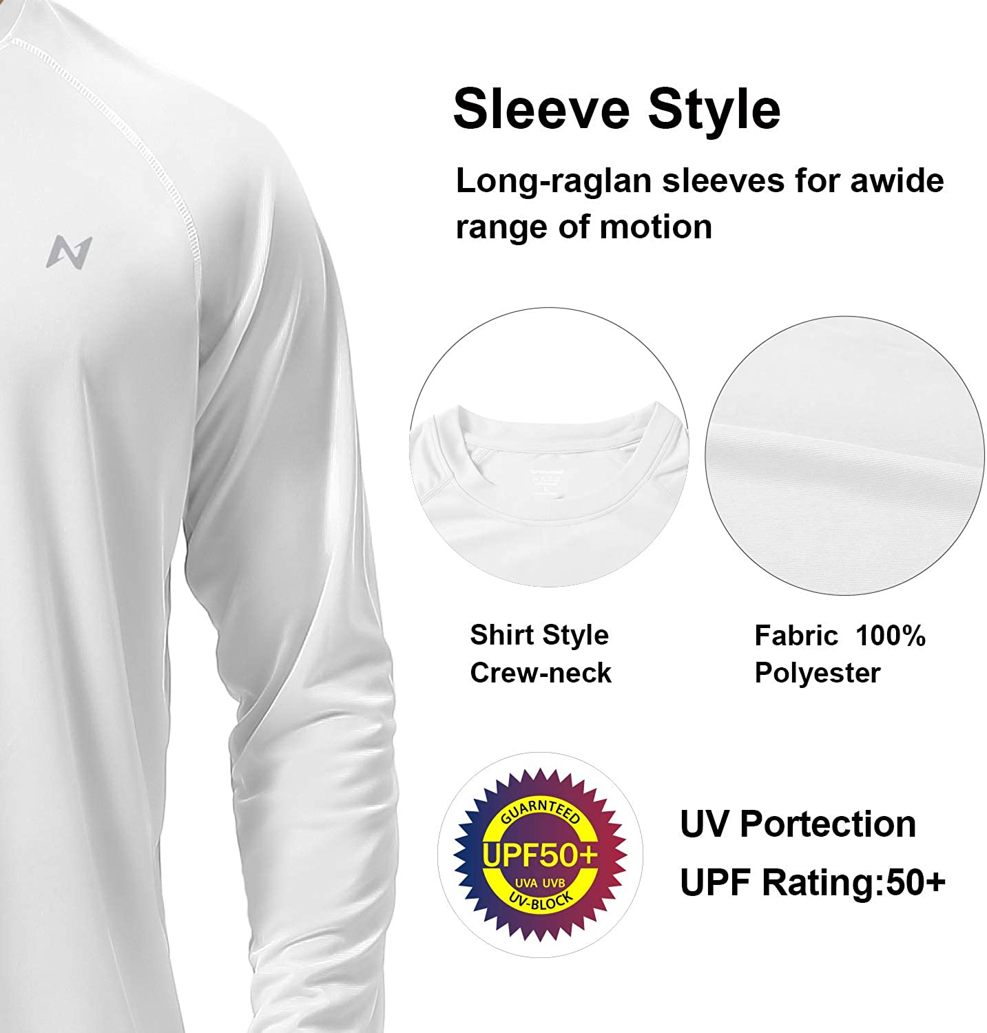 Mens Long Sleeve UV Sun Protection T-Shirts UPF 50 for Workout Training Hiking
