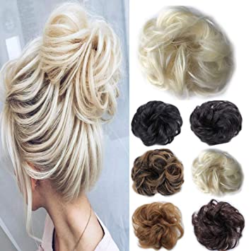 Messy Hair Bun Extensions Chignon Hairpieces For Women Curly Updo Ponytail Yellow Blonde