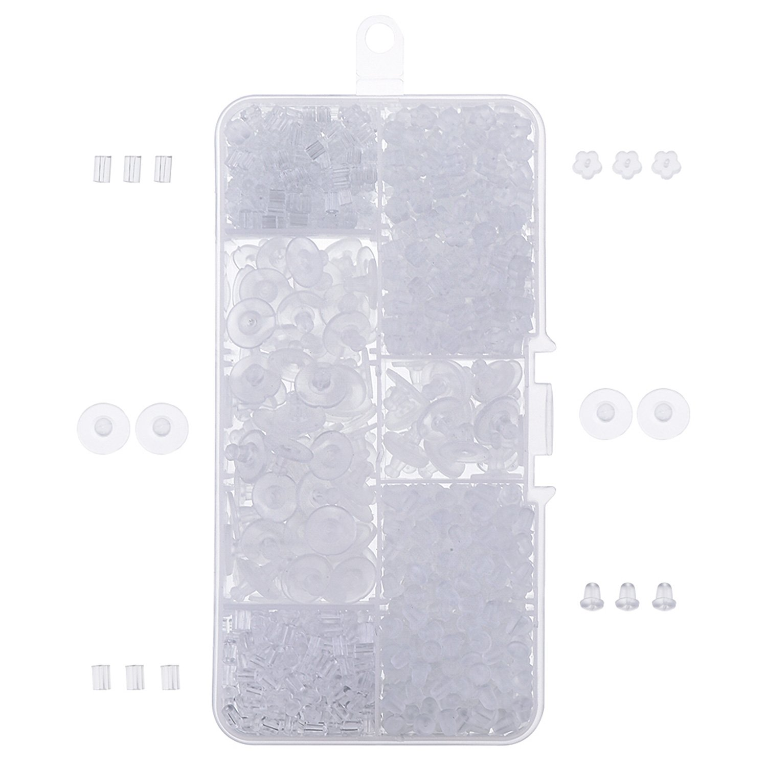 Outus 1000 Pieces Earring Backs Rubber Earring Safety Backs Stoppers, Clear