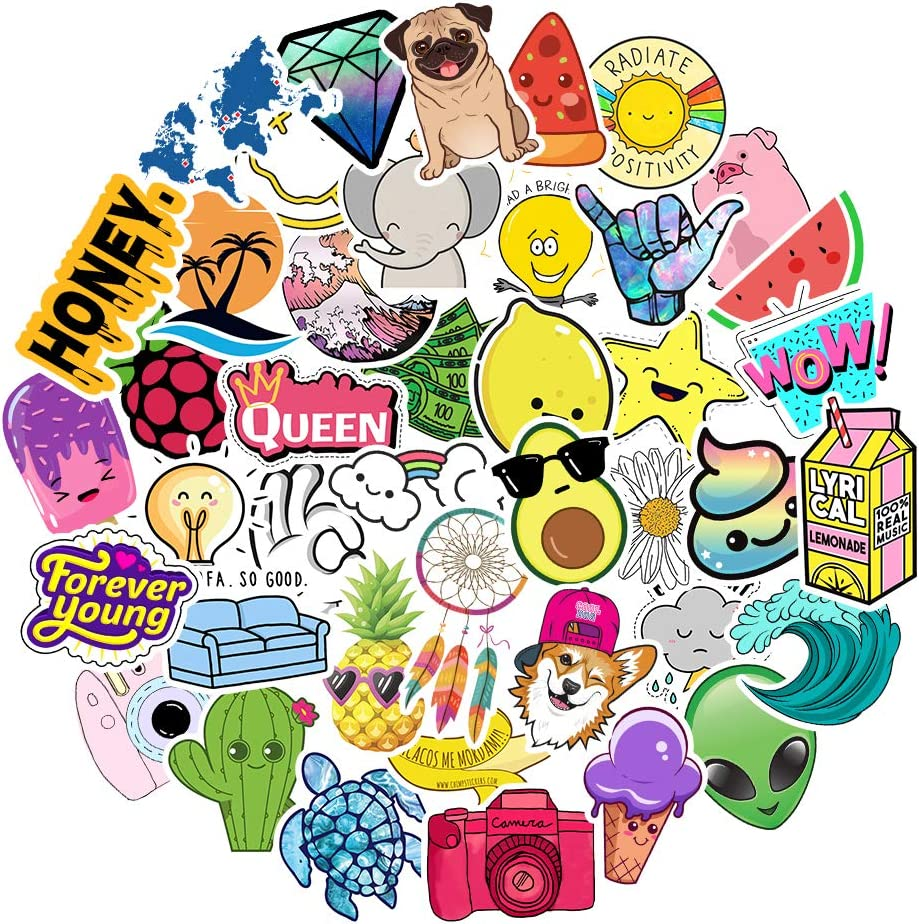 Stickers for Water Bottles Big 42pcs Waterproof Cute Aesthetic Trendy Stickers for Teens Kids Girls and Boys, Perfect for Hydro Flask Laptop Notebook Phone Car Skateboard Travel Durable 100% Vinyl