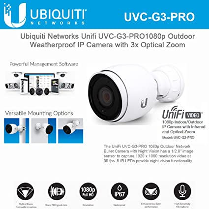 Ubiquiti Network UniFi UVC-G3-PRO 1080p Outdoor Weatherproof IP Camera with  3x Optical Zoom