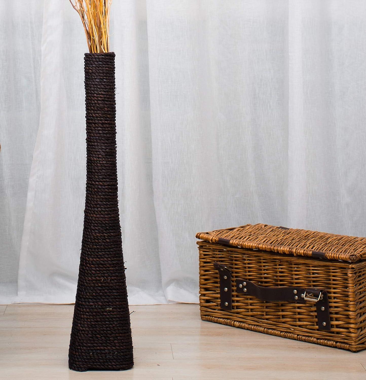 Leewadee Grande Vaso da Terra per Rami Decorativi Vaso Alto da Interno 75 cm Legno di Mango Blu