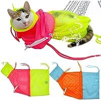 Fengus Cat Washing Bath Bag, Restraint Scratching Biting Mesh Bag for Shower, Cleaning Ear, Cutting Nails, Medicine Feeding (2Pcs)