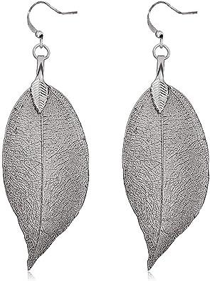 PAIR Women/'s Long Natural Real Dipped Leaf Leaves Dangle Earrings Hook Studs