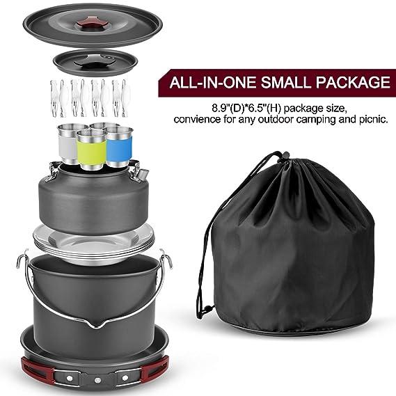 Amazon.com: Odoland 10pcs Camping Cookware Kit de ajedrez ...