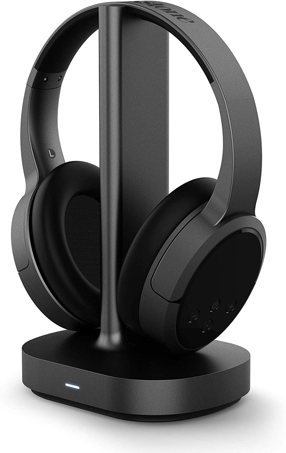 Brookstone AirPhones Wireless RF TV Headphones with 2.4GHz Wireless Audio/Charging Dock,100ft Wireless Range, 10Hrs Playtime, Comfortable Ear-Pads, Black, (Support Optical, 3.5mm AUX, RCA Audio Out)