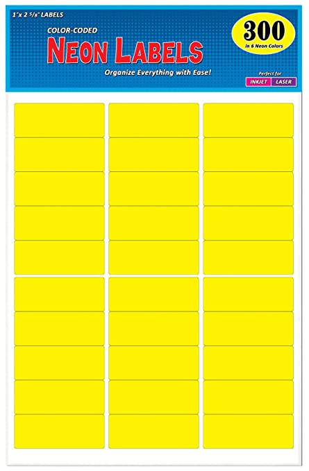 Pack of 300, 1 x 2-5/8 inch, Neon Yellow, Mailing Address Labels for Laser  and Inkjet Printers, Rectangle, Assorted Neon Fluorescent Colors, 1 x 2 625