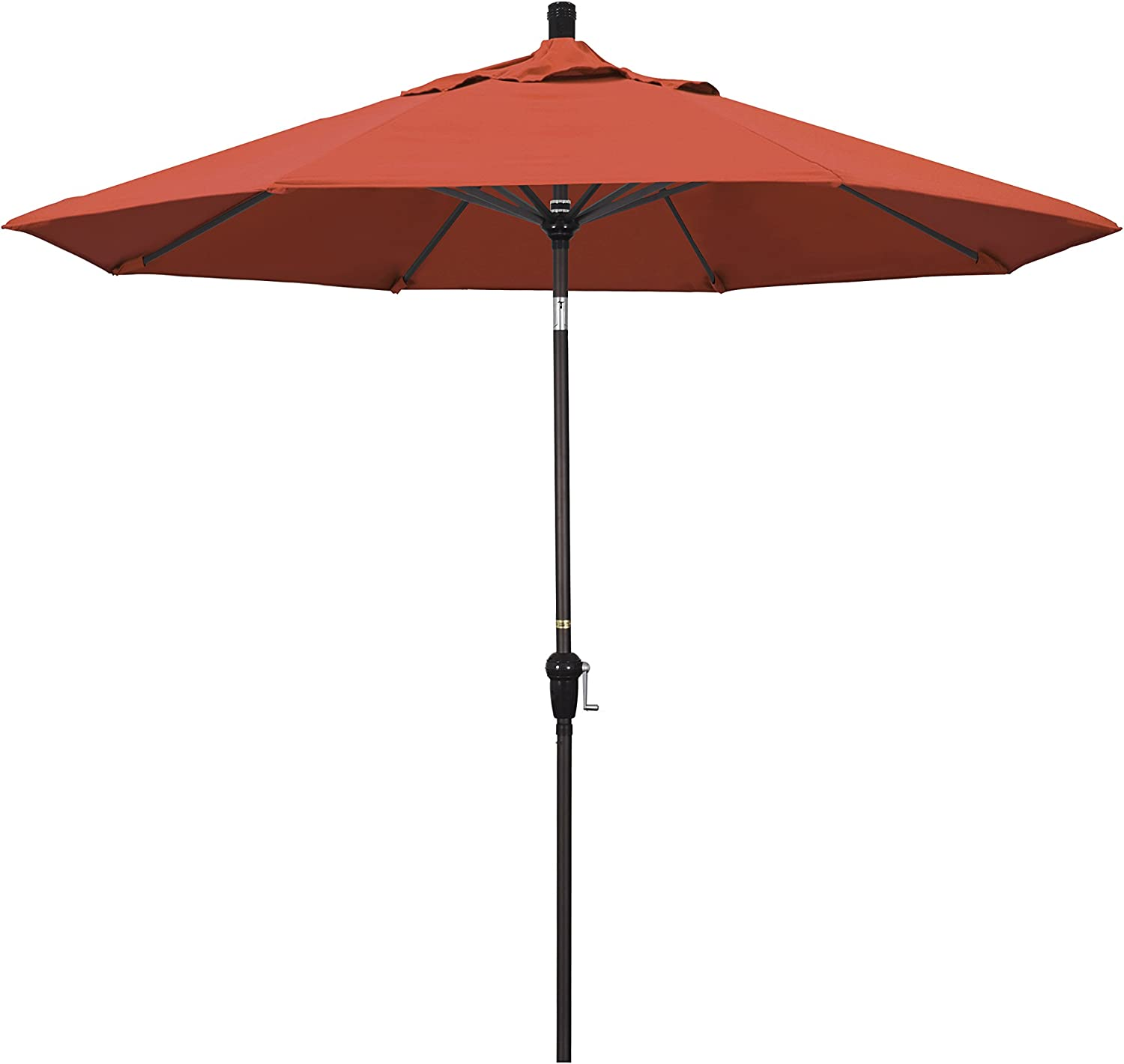 California Umbrella 9 Round Aluminum Market Umbrella, Crank Lift, Auto Tilt, Bronze Pole, Sunset