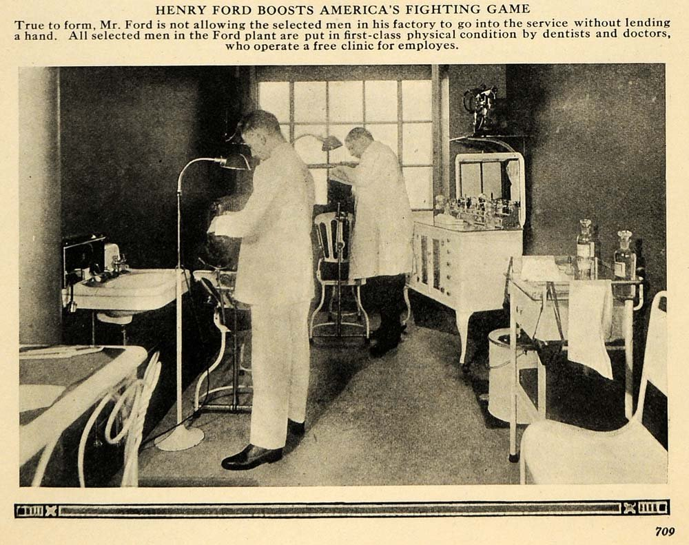 1918 print henry ford enlisted workers health care wwi original