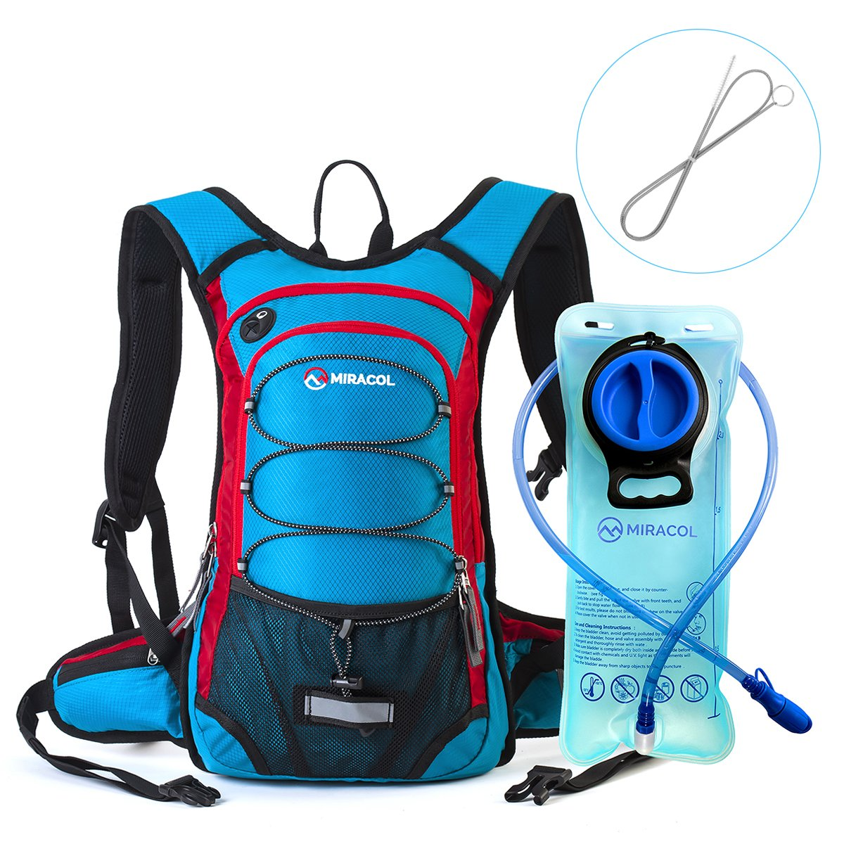 MIRACOL Hydration Backpack with 2L Water Bladder and Long Tube Brush, Thermal Insulation Hydration Pack Keeps Liquid Cool up to 4 Hours, Perfect Outdoor Gear for Hiking, Running, Camping, Cycling