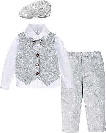mintgreen Traje Formal Bebé Niño Esmoquin con Boina, Gris Claro, 2-3 años (Tamaño del Fabricante: 100): Amazon.es: Ropa y accesorios
