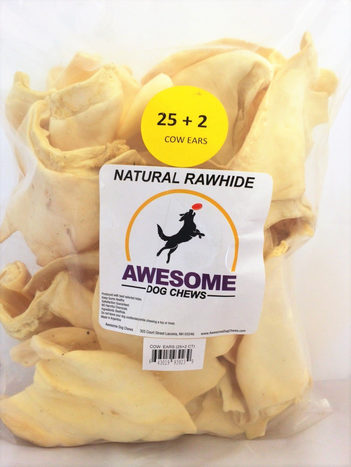 100% Awesome Dog Chews All Natural Cow Ears 25 + 2 FREE Count - FDA / USDA Inspected Through a Registered FDA Plant