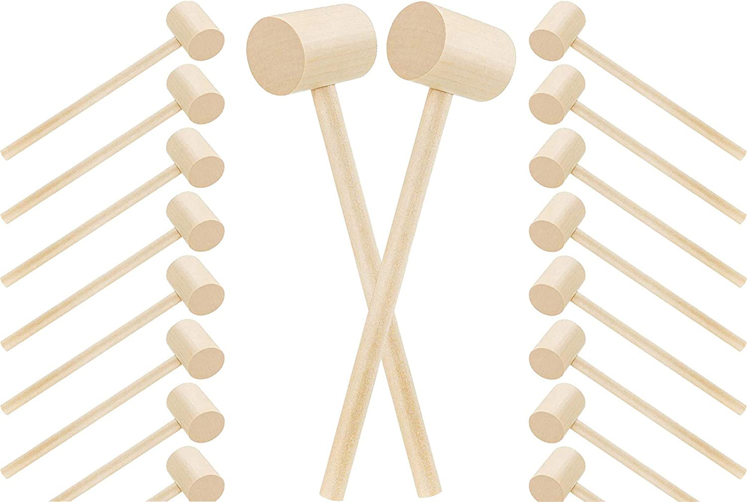 18 pcs Wooden Crab Lobster Mallets Seafood Shellfish Crab Wood Hammers Mini Solid Wooden Natural Mallets for Cracking Seafood Tool SuppliesCraft Toys for Kids