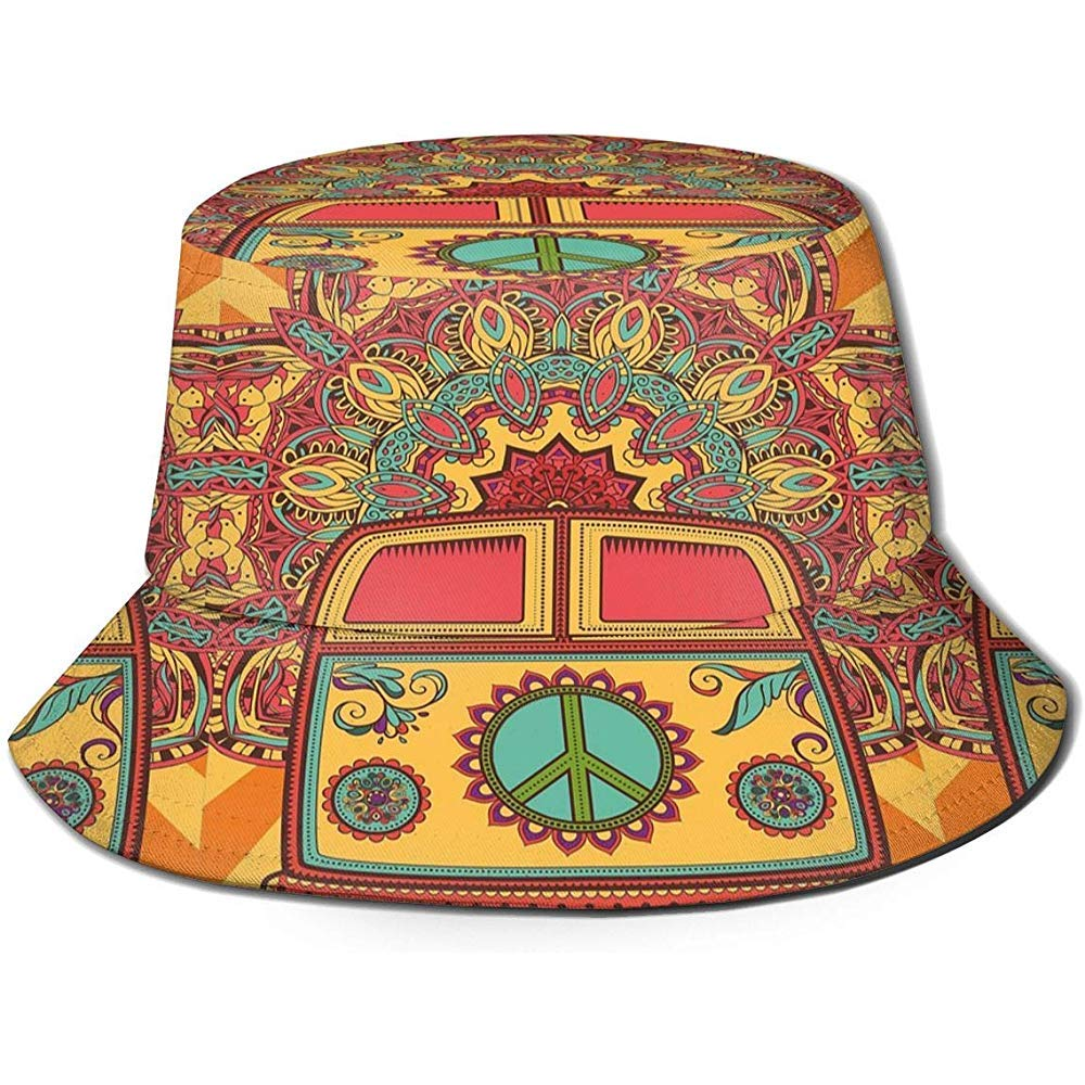 Hippie Vintage Mini Van Peace Sign Bucket Sun Hat Summer Uv Protection Cap Unisex for Travel Outdoor