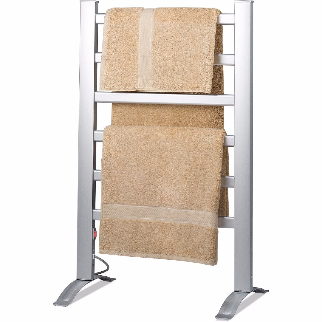 Knox Aluminum Towel Warmer Rack - Freestanding or Wall Mountable - 6 Bar Electric Warm Bath Towel Heater