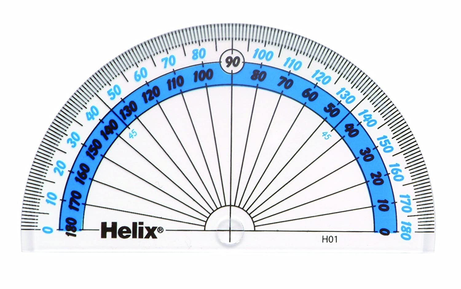 worksheet Protractor Image helix h01040 10cm 180 degree protractor amazon co uk office products