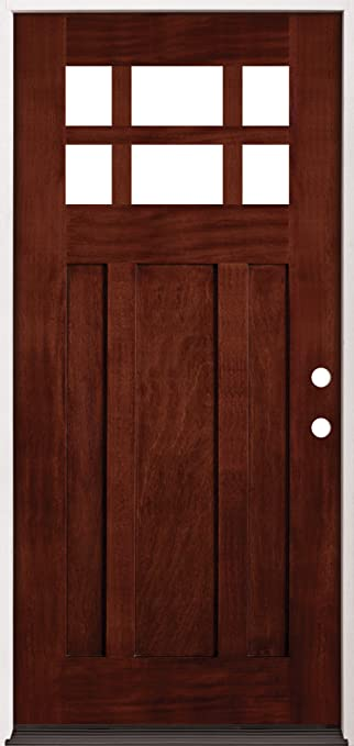 6 lite craftsman mahogany wood entry double door 43 left hand single