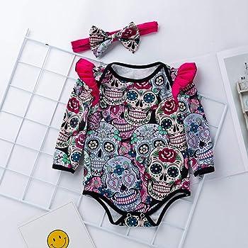 Ropa Bebe,❤️ Modaworld Monos de Calavera de Dibujos Animados de Halloween de Manga Larga para beb/és reci/én Nacidos Mameluco Camisas Ropa beb/és 0-18 Mes