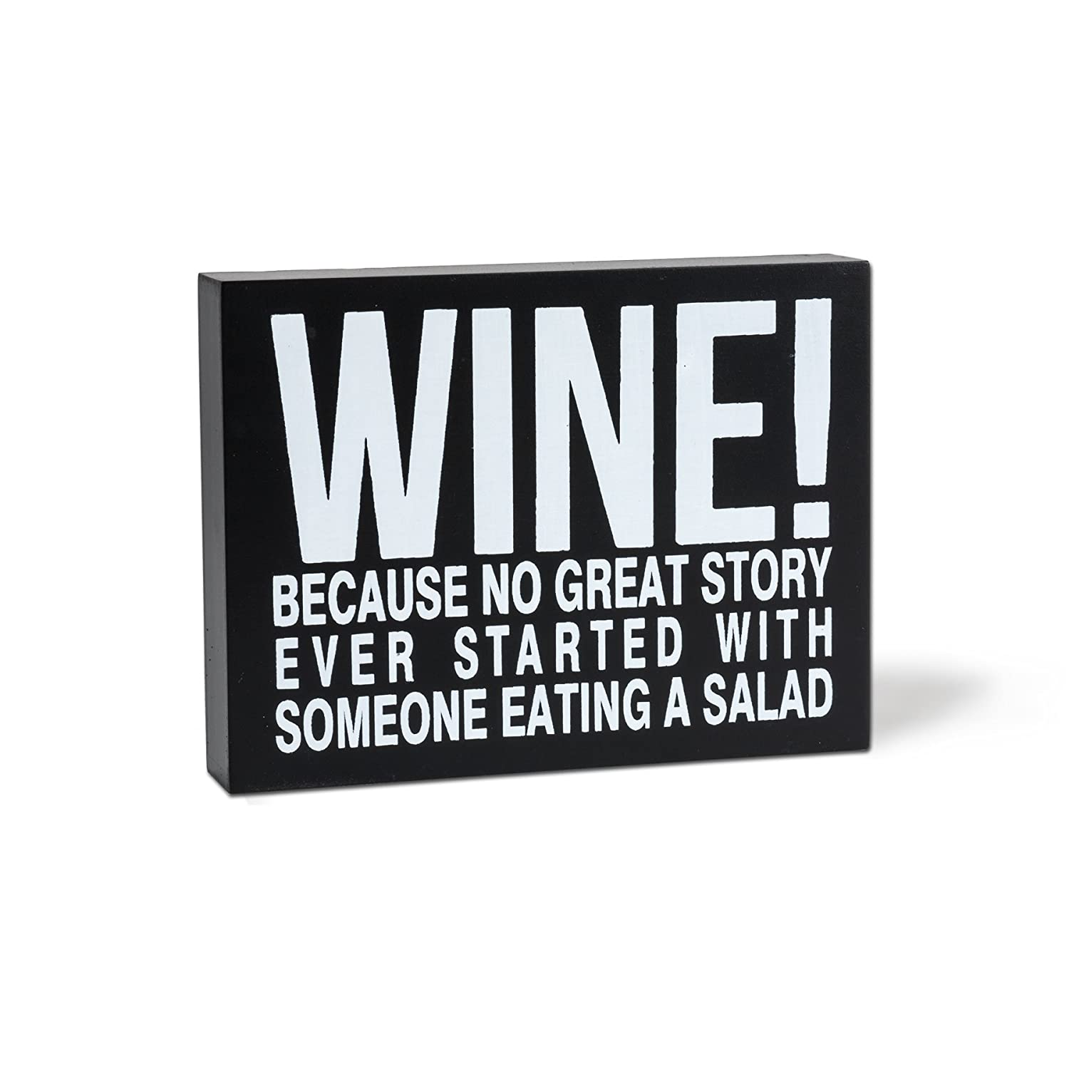 Abbott Collection Home 27-JUSTSAYIN//521 Medium Black Rectangle Wine Block Decoration
