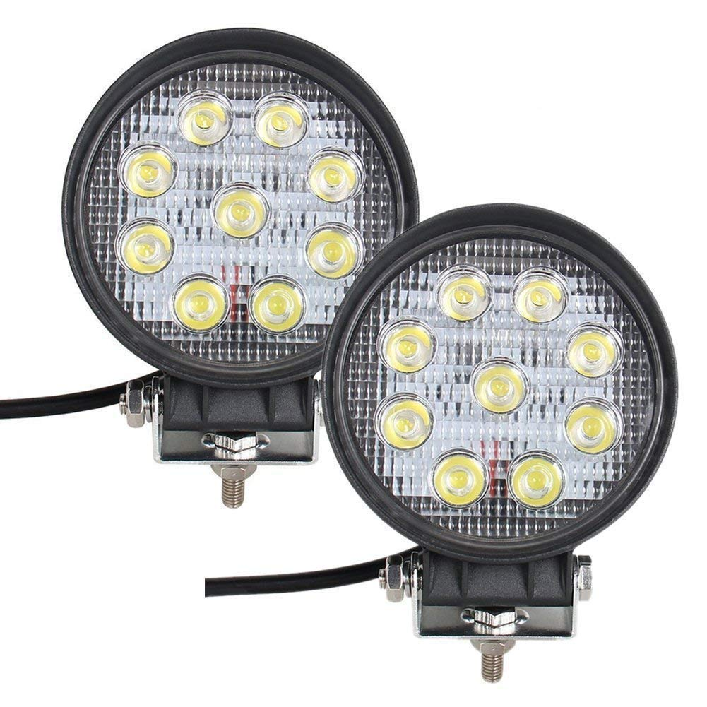 Bang4buck 4 Pack Super Bright 27W Spot LED Light 5 inch Round Fog Lamp Driving Light EPISTAR Beam for Truck Car ATV SUV Jeep Boat 4WD BB-WRE27D-2