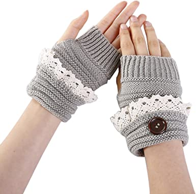 8cm wide Girls Lace Fingerless Gloves White One Size Small