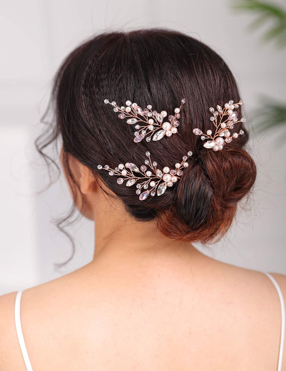 Bridal hair pins Wedding hair accessories bridesmaids hair pins Set of 3 sparkle crystal wedding hair pins
