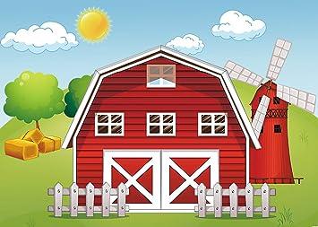 Gya 7x5ft Cartoon Farm Photography Backdrop Red Barn Windmill Animals Barnyard House Kids Birthday Background Baby Shower Newborn Photocall