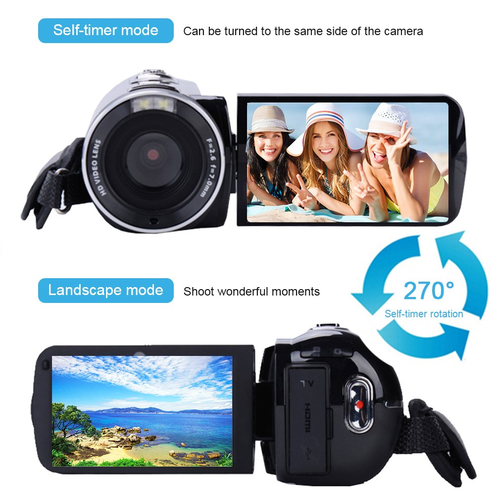 Camera Camcorder with IR Night Vision, Weton 3.0 inch LCD Touch Screen Digital Video Camera Full HD 1080p 24.0MP Pixels 18x Digital Zoom Mini DV with Remote Control (Two Batteries included) by Weton (Image #4)