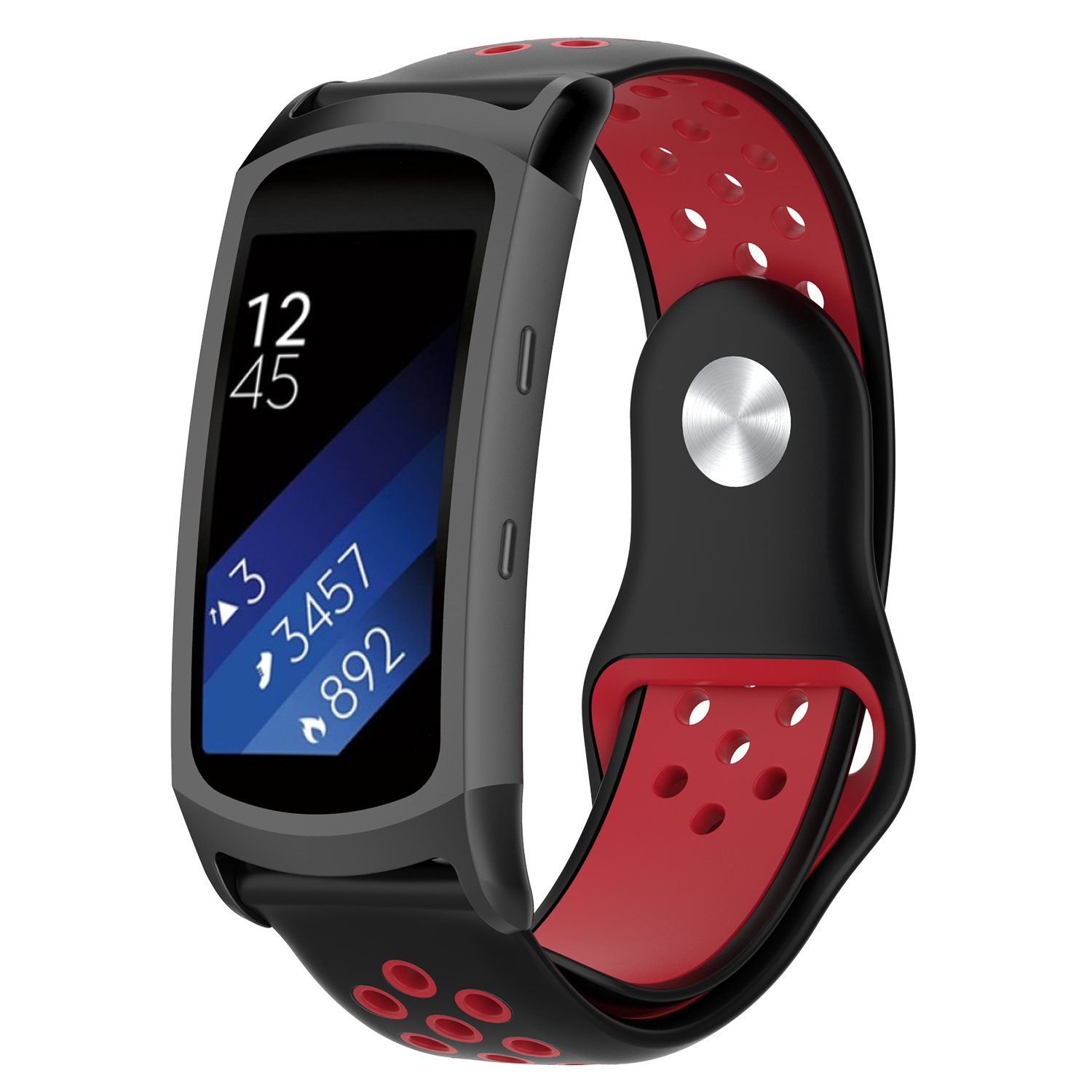 FUNKID Band for Samsung Gear Fit2/Fit2 Pro Smartwatch SM-R365/R360 Strap Replacement with Stainless Metal Adapters Connecter Black Red