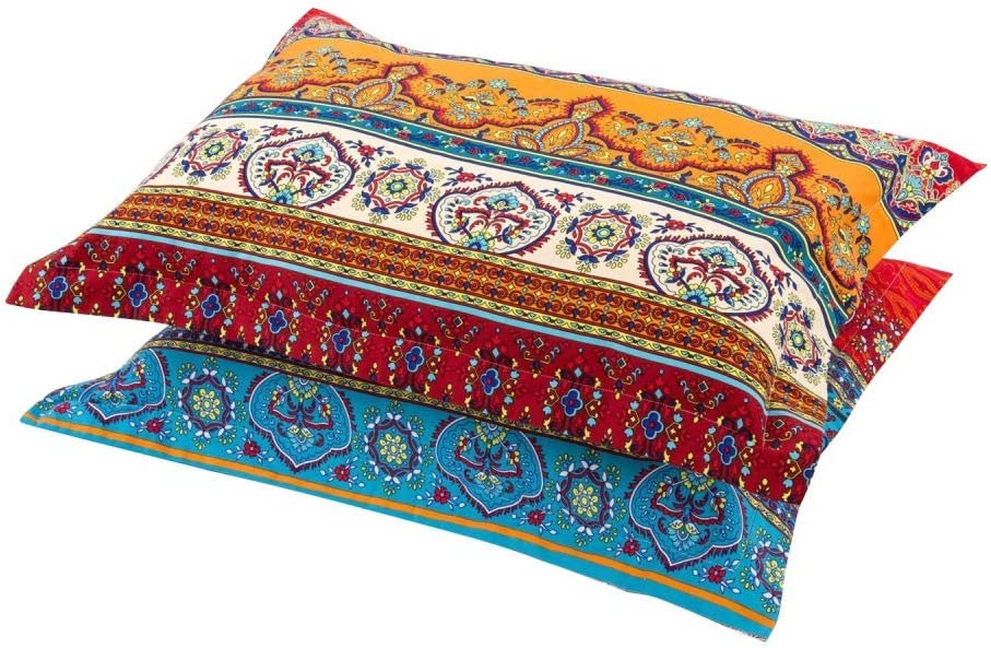 HNNSI Philadelphia Mall Exotic Striped Bohemia Pillow Shams Pieces Size New product! New type King 100 2