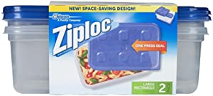 Ziploc Container Large Rectangle, 9 cup Containers -2 ct