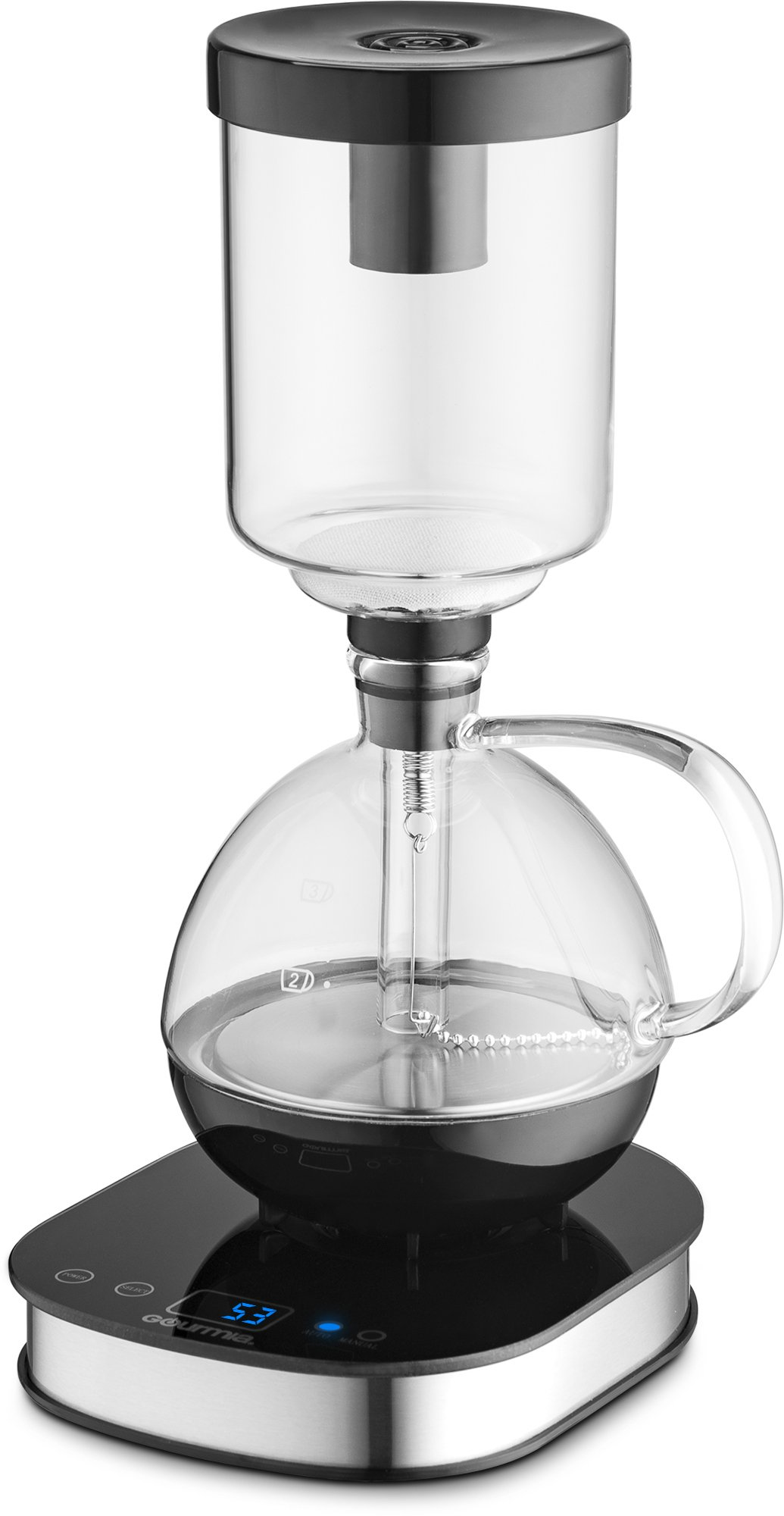 Gourmia GCM3500 Digital Siphon Artisanal Coffee Machine - Pedestal Display Touch LCD Control With Automatic & Manual Brewing Functions, Bold Flavor by Gourmia