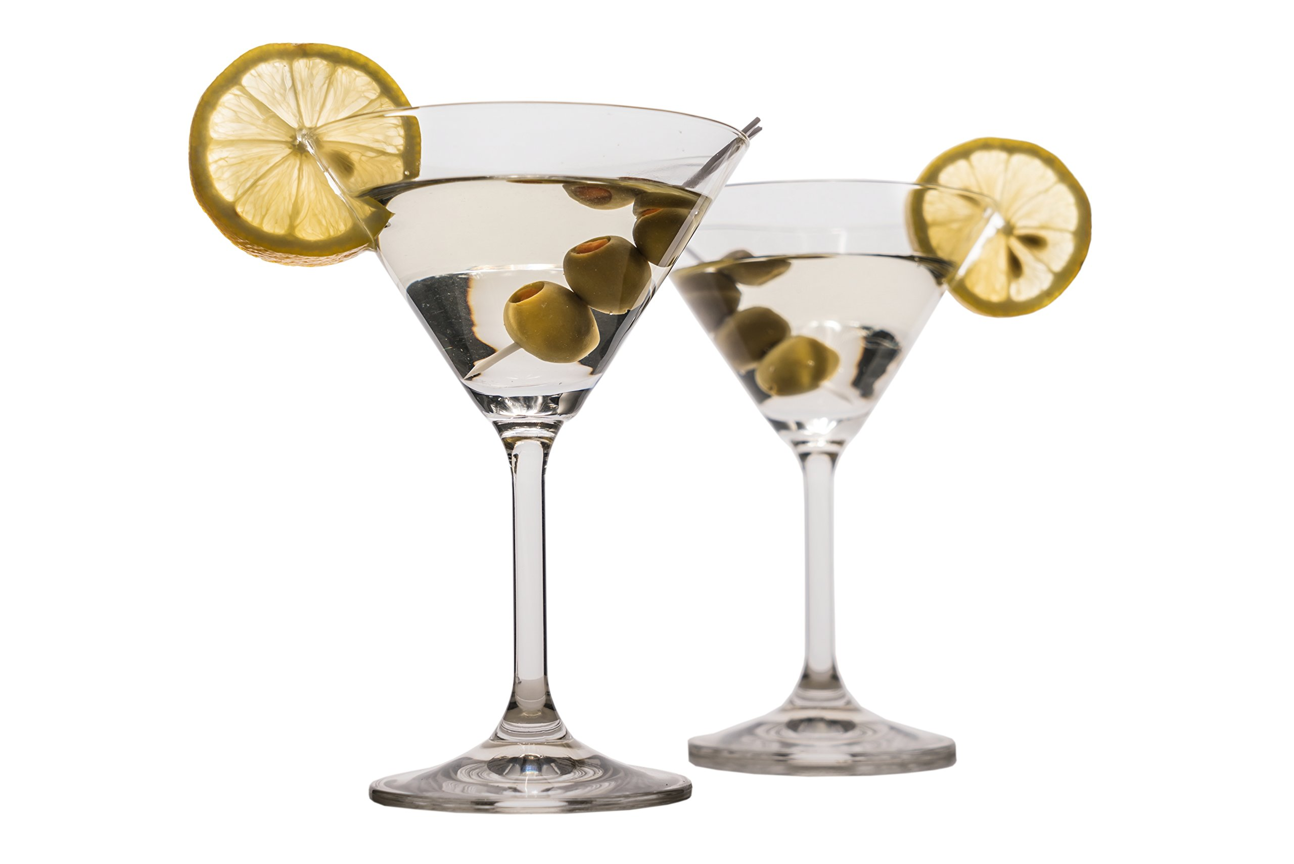 Crystal Martini Glasses Set of 6 - Classic, Elegant & Durable Cocktail Glassware - Bohemian Crystal Glass - 7 Ounces/210 Milliliters
