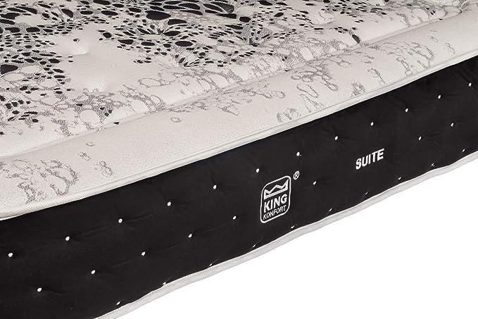 King Konfort Colchón Suite con 7 cm de Visco Carbono y Soft-sensite. Núcleo de HR de 28kg. Alta firmeza con máxima adaptabilidad. Tejido 4D.