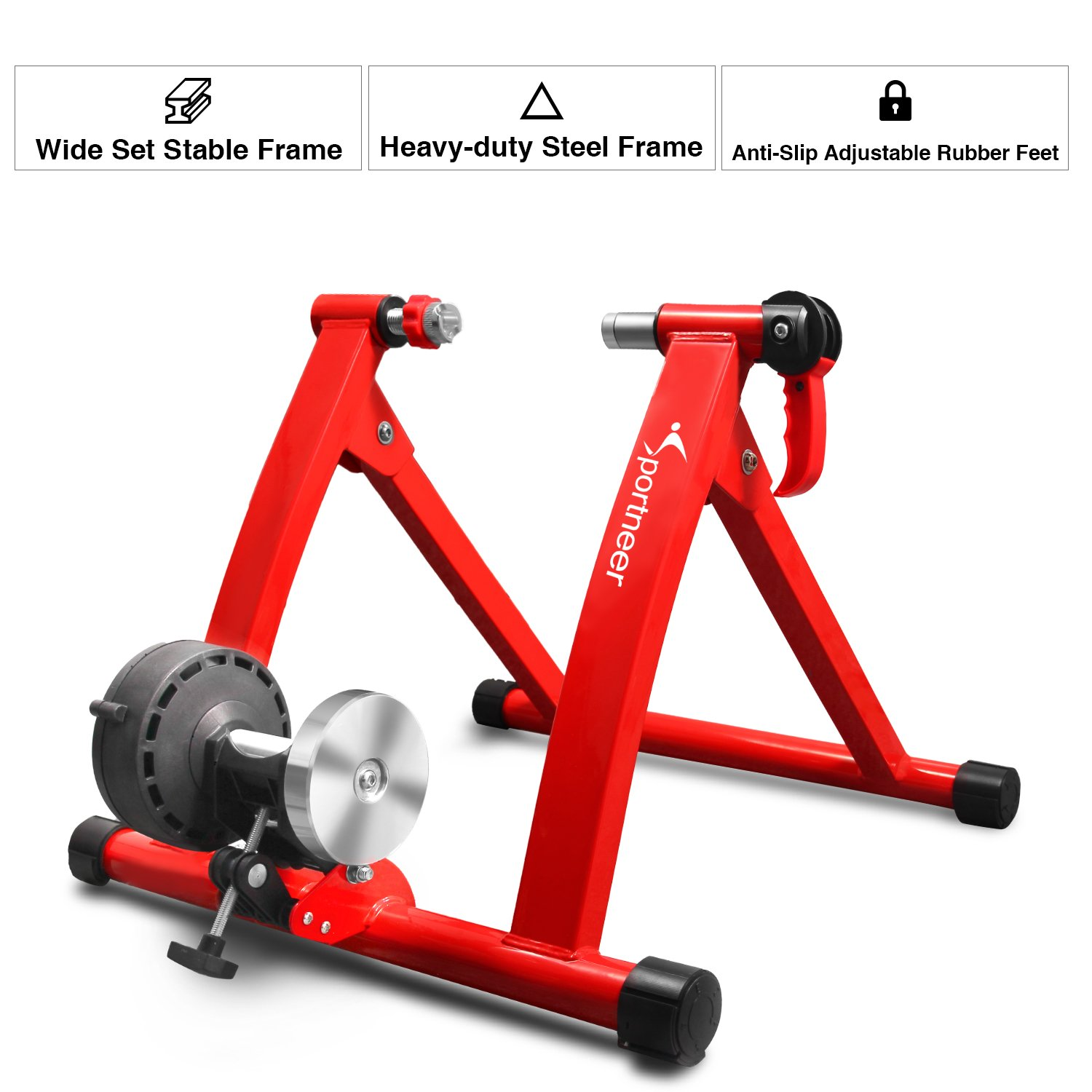 Sportneer Bike Trainer Stand Steel Bicycle Exercise Magnetic Stand with Noise Reduction Wheel, Red by Sportneer (Image #6)